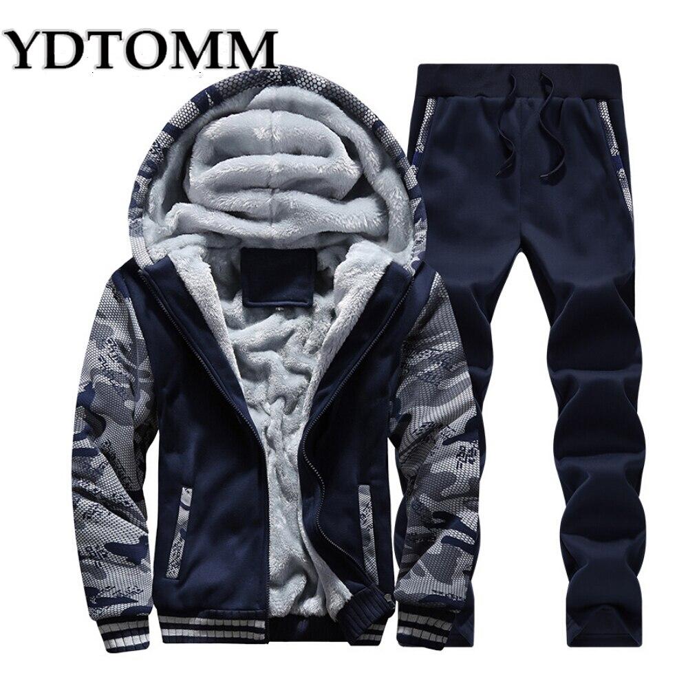 Men Tracksuit Set 2017 Plus Size Winter Men Casual Sporting Camouflag Suit Male Wool Liner Sweatshirt