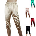 2015 silk pants mulberry silk casual capris pants elastic crepe satin trousers