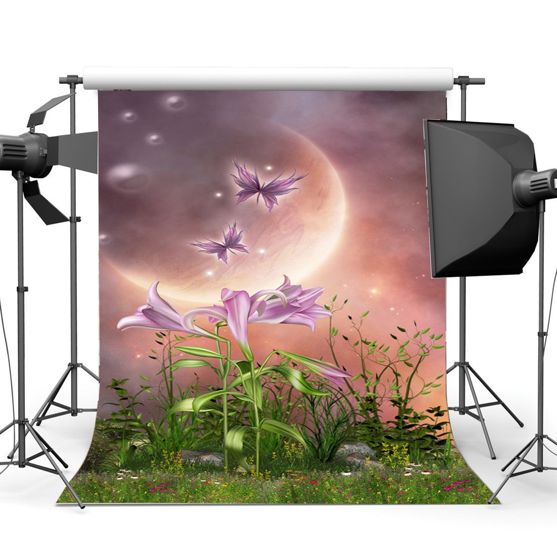 Photography Backdrop Dreamy World Fairy Tale Blooming Flowers Grass Field Bokeh Moon Night Fantasy Background-in Photo Studio Accessories from Consumer Electronics