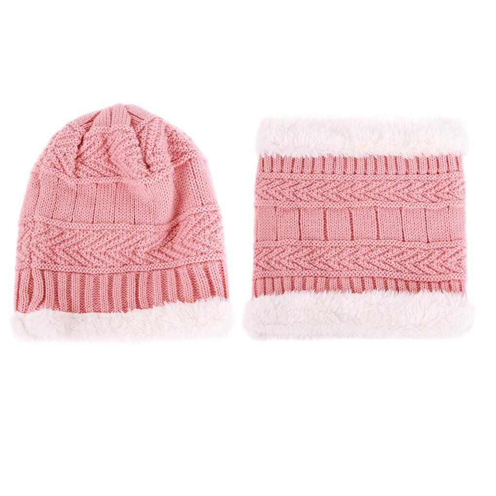 2Pcs/set Winter Autumn Kids Knit Beanie Circle Scarf Stretchy Hats Toddler Toddler Boys Girls Warm Ski Skull Cap
