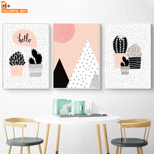 COLORFULBOY Cactus Hill Wall Art Canvas Painting Pop Art Posters And Prints Watercolor Wall Pictures For Living Room Home Decor