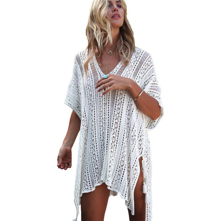 2018 Nouvelle Plage Cover Up Bikini Crochet Tricoté Gland Cravate Beachwear D'été Maillot de Bain Cover Up Sexy See-through Plage robe