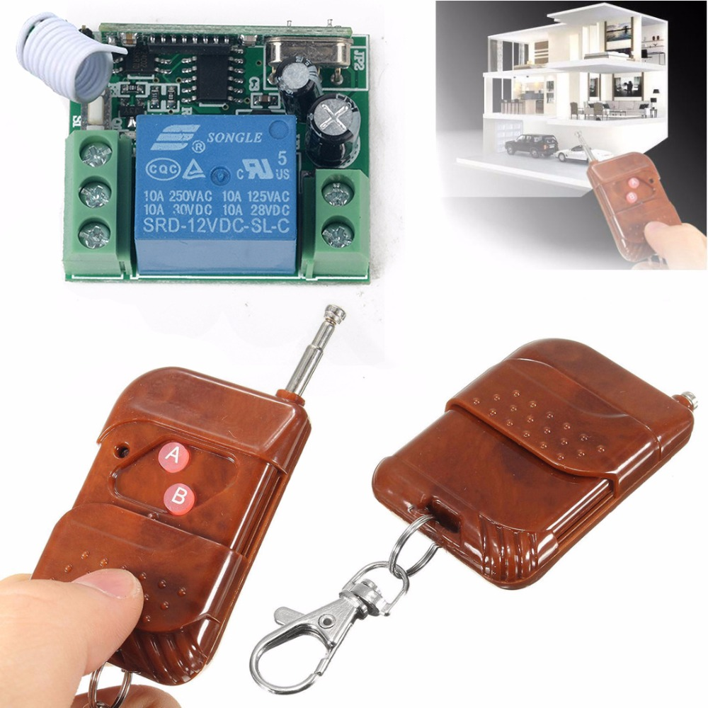 Universal 433MHZ Wireless Remote Controller 1 Channel Wireless Relay Switch Receiver Transmitter Key for Electric Garage Door 2pcs universal 2 channel wireless garage