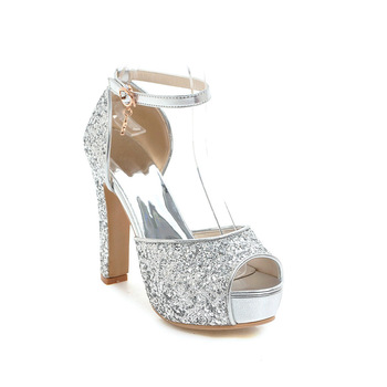 Summer High Heels Sandals Women 2019 Bling Peep Toe Ankle Strap Footwear Silver Platform Sandals Wedding Shoes Female annymoli sandals women platform wedge high heels shoes round toe buckle high heel footwear ladies summer sandals female beige