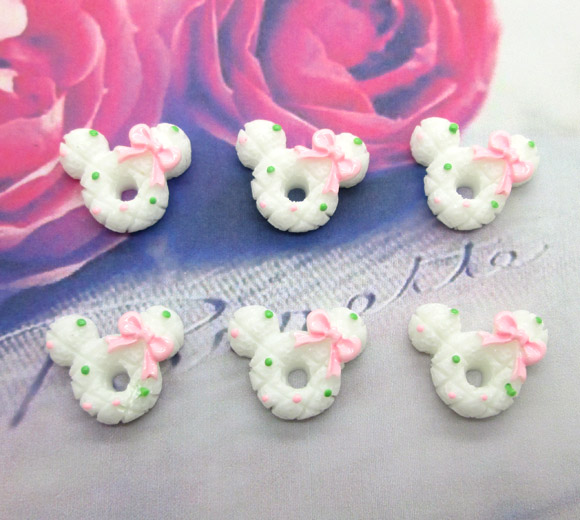 20Pcs Resin White Mouse Cookies Crafts Flatback Cabochon Scrapbooking Decorations Fit Hair Clips Embellishments Beads Diy