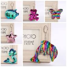 Dolphin Star Unicorn Keychain Glitter Pompom Sequins Key Chain Gifts for Women Llaveros Mujer Car Bag Accessories Key Ring(China)
