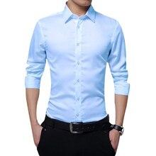 Мужские рубашки с длинным рукавом Slim Fit Твердые деловые формальные рубашки для осени-MX8