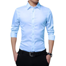 Men Long Sleeve Shirts Slim Fit Solid Business Formal Shirts