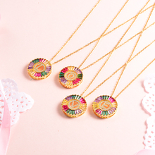 Baoyan Rainbow Crystal A-Z Letter Initial Necklace Gold Plating Copper Brass Personalized Name For Women