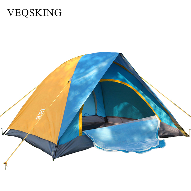 Anti AU Windproof 1500 mm Rainproof Tents Double Layer Waterproof Camping Picnic Tents For Tourism 2 Person 2018 hillman camping tent high mountain highland snow mountain double layers silicone coating tents super windproof rainproof