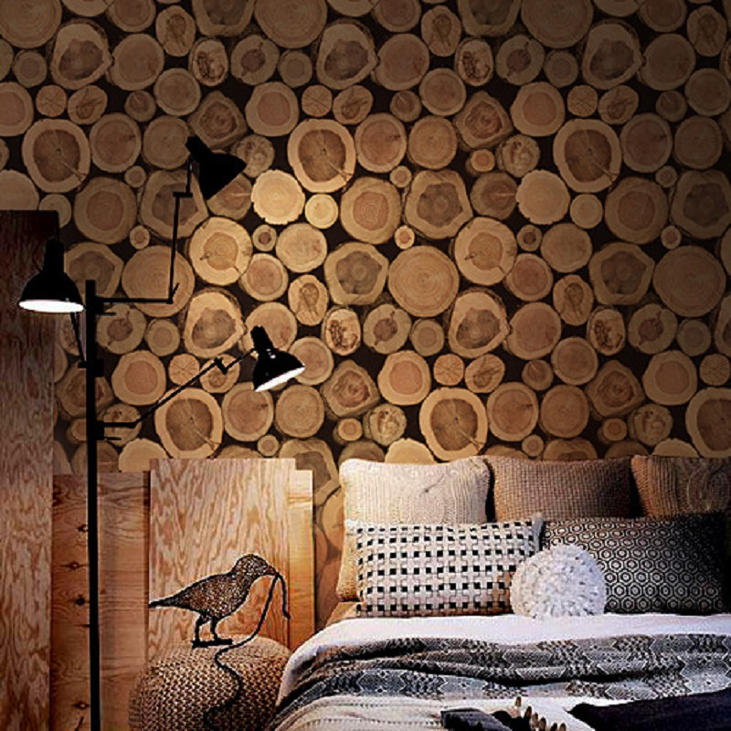 Log Wallpaper Mural Wallpapers Wood flock wall paper papel de parede tapete decor for Living room& Hotel decoration 53x1000cm top quality fabric mural wallpaper modern striped flock wall paper papel de parede tapete bedroom white beige coffee 53x1000cm