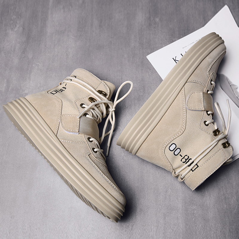 Image 5 - Aelfric Eden Flat Platform Ankle Boots 2019 Spring Autumn Lace up  Elastic Band Shoes male High Fashion Motorcycle Sneakers  AE27Motorcycle boots