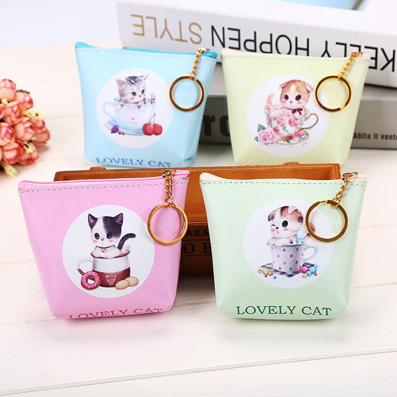 Cute Girl  Kids Coin Purses Holder Animal Dog Cat Women Mini Change Wallets Money Bag Coin Bag Children Zipper Pouch Gift ougold girl cylindrical character zipper new fashion coin purses mini portable headphones cute zero wallets