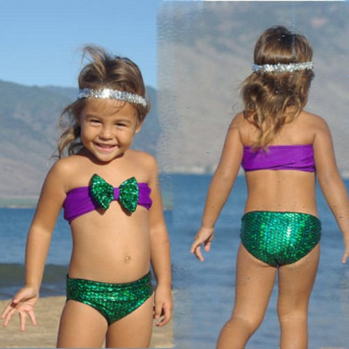 Sequins Mermaid Child Kids Baby Girls Bowknot Bikini Swimsuit Swimwear Set 2 7Y