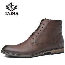 TAIMA Brand Men Fashion Boots Top Quality New Style Business Casual Leather Martin Boots For Men Brown Flat with Ankle Boots