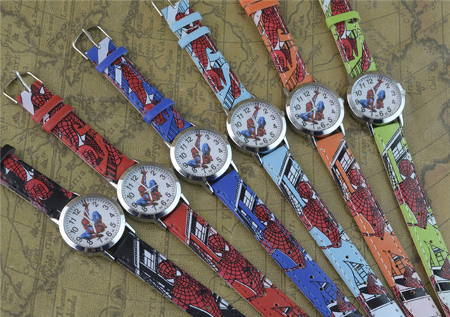 2018 Spider Cartoon Watch Children Kids Wristwatch Boys Clock Child Gift Leather