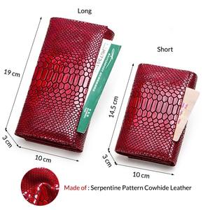 Image 3 - Contact en cuir véritable portefeuille femmes longue pochette moraillon femme porte monnaie rfid porte carte portefeuilles pour femmes portfel damski