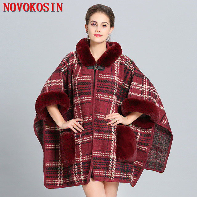 2018 Women Faux Wool Fur Collar Printed Cardigan Winter Warm Thick Long Batwing Sleeves Poncho Plus Size Ladies Hairy Coat