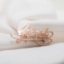 Custom Name Brooch Pin Gold Handwriting Signature Any Brooches Pins Label alfileres con nombre personalizado