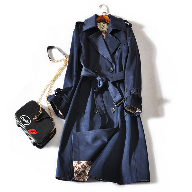 2019 Autumn Women Double Breasted Long Trench Coat With Belt Windbreaker Female Classic Casual Office Lady Business Outwear R642