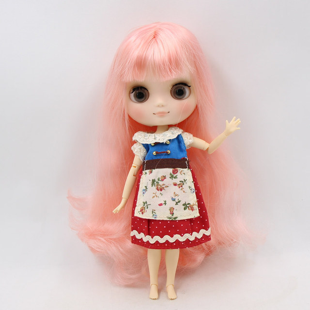 Middie Nude Blyth Doll Pink hair with bangs Matte face gray eye 20cm DIY gift with hand set  No.BL1010