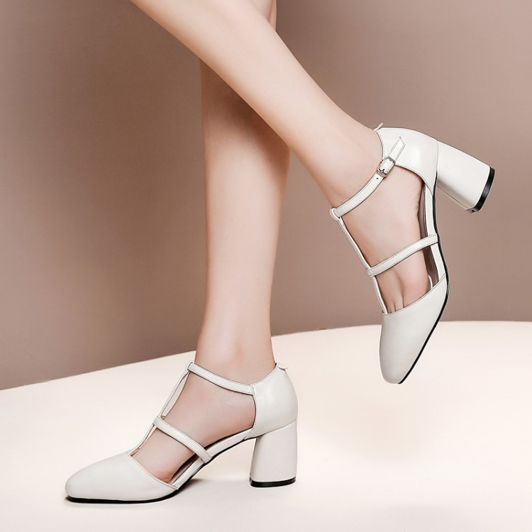 Big Size 9 10 11 12  high heels sandals women shoes woman summer ladies  Pointed Roman buckled sandals with thick heelsBig Size 9 10 11 12  high heels sandals women shoes woman summer ladies  Pointed Roman buckled sandals with thick heels