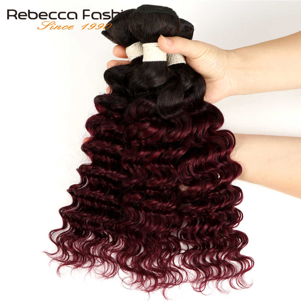 Rebecca Ombre Peruvian Deep Wave Bundles 3/4 Pcs Remy 2 Tone Color T1B/27# T1B/30# T1B/99J# 100% Human Hair Bundles