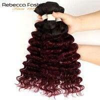 Rebecca Ombre Peruvian Deep Wave Bundles 3/4 Pcs Non Remy 2 Tone Color T1B/27# T1B/30# T1B/99J# 100% Human Hair Bundles