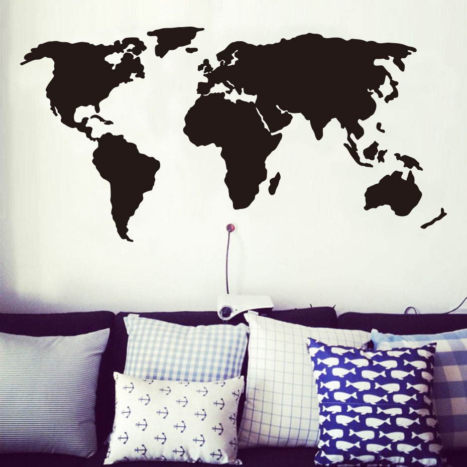 Abstract Black And White World Map Wall Sticker Living