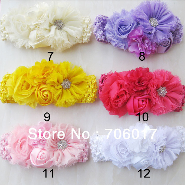 """2.5"""" vintage chiffon flowers with shabby satin mesh flowers with winter headband for Baby & Toddlers 12 color 12pcs/lot"""