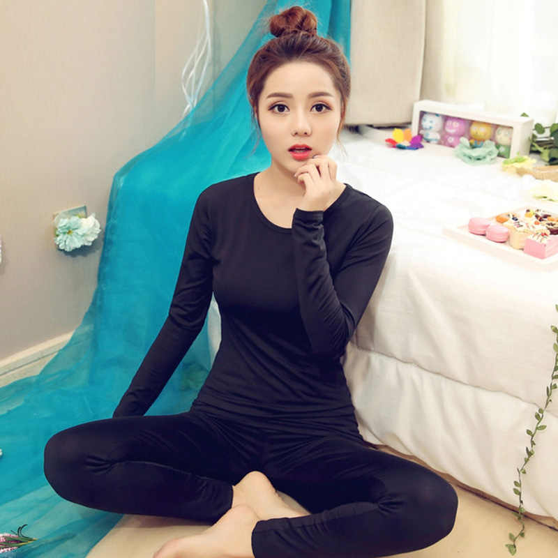 Yidanna 4 colours round neck sexy pajama sets for women solid warm homewear lingerie  sleepwear Ladies 0284e7e92