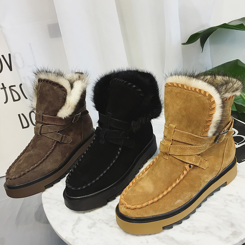 New Fashion Nubuck Leather Winter Rabbit Hair Super Warm Plush Flat Snow Boots Womens Cotton Shoes
