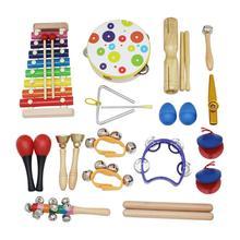 Новинка 19 шт. деревянная перкуссия Orff ритм игрушечные музыкальные инструменты набор подарок для малышей