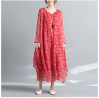 2018 New Autumn Women dress Chinese Silk Dresses White Watermelon Red 1933