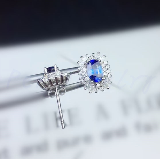 7b8567825 Natural sapphire stud earring Free shipping Natural real sapphire 925  sterling silver 0.6ct*2pcs gemstone #SB18092412-in Earrings from Jewelry &  Accessories ...