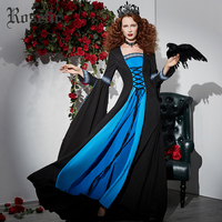 Rosetic Gothic Dress Black Autumn Cosplay Retro Patchwork Long Lace Up Blue Mesh Ruffles Vintage Embroidery