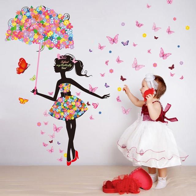 Vlinder Decoratie Babykamer.Shijuehezi Bloem Paraplu Vlinders Patroon Muur Sticker Voor