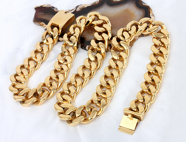 72cm * 20mm Wide Mens Boy HEAVY Biker Gold Tone Curb Cuban Chain 316L Stainless Steel Necklace Titanium steel Fashion Jewelry