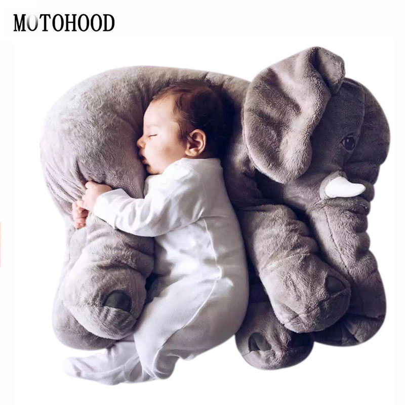 MOTOHOOD 60cm Kawaii Animals Elephant With Blanket Stuffed Plush Toys For Baby Children Doll Birthday Gift For Kids Gray fancytrader new style giant plush stuffed kids toys lovely rubber duck 39 100cm yellow rubber duck free shipping ft90122