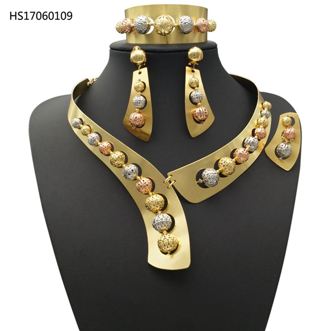 YULAILI Wholesale Nigerian Beads Wedding Jewelry Set Bridal Dubai Gold Color Copper Fashion Accessories