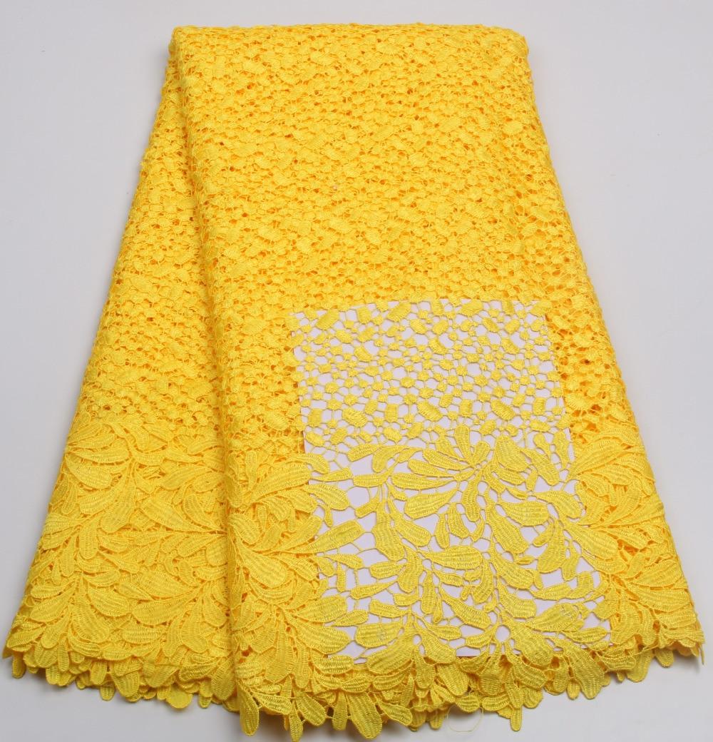 Wysokiej jakości poliestru ślubne nigerii afryki koronki tkaniny/przewód gipiury koronki tkaniny na sukienka na imprezę w kolorze żółtym PGC202B 2 w Koronka od Dom i ogród na  Grupa 1