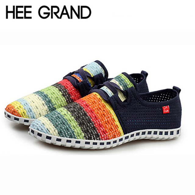 HEE GRAND Candy Stripe Lovers Flats Out-cuts Casual Breathable Summer Unisex Couple Shoes XMF263