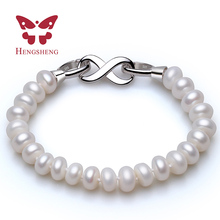 HENGSHENG Infinito Pulsera Perlas de Agua Dulce Con Blanco Broche, 8-9mm Semiesférica AAAA Pulsera de Perlas Para El Día de la Madre