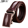 2016 Top Cow genuineAutomaticNew genuine Leather Good Quality business mens belt luxury Designer brand Buckle Male Belts For Men