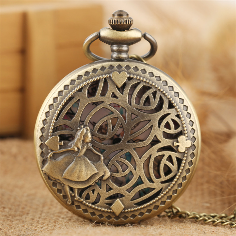 Alice In Wonderland Theme Quartz Pocket Lovely Princess Roman Numerals Display Round Dial Pendant Clock For Ladies Fob Chain