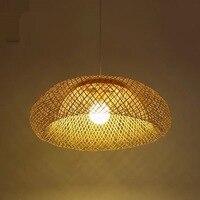 42/52/62 cm Handgemaakte Bamboe Rieten Rotan Shade Hanglamp Armatuur Rustieke Aziatische Land Art Opknoping Lamp eetkamer-in Hanglampen van Licht & verlichting op