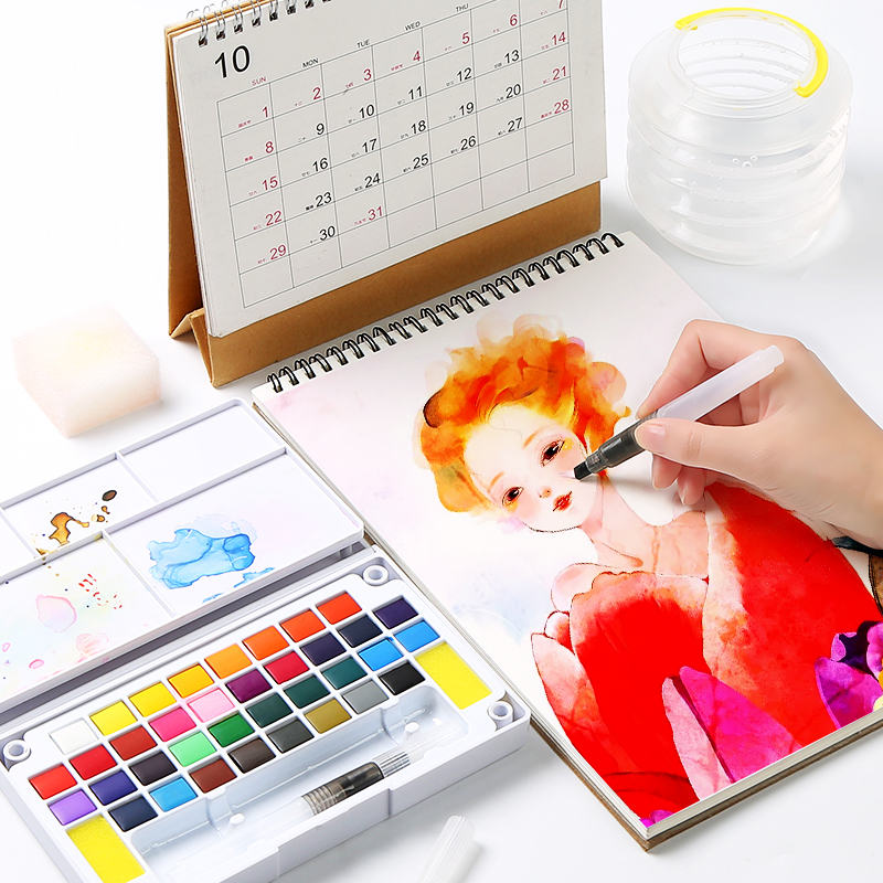 12 24 36Colors Bright Solid Water Color Set Portable Hand painted Watercolor Pigment Transparent Full Drawing Set in Water Color from Office School Supplies