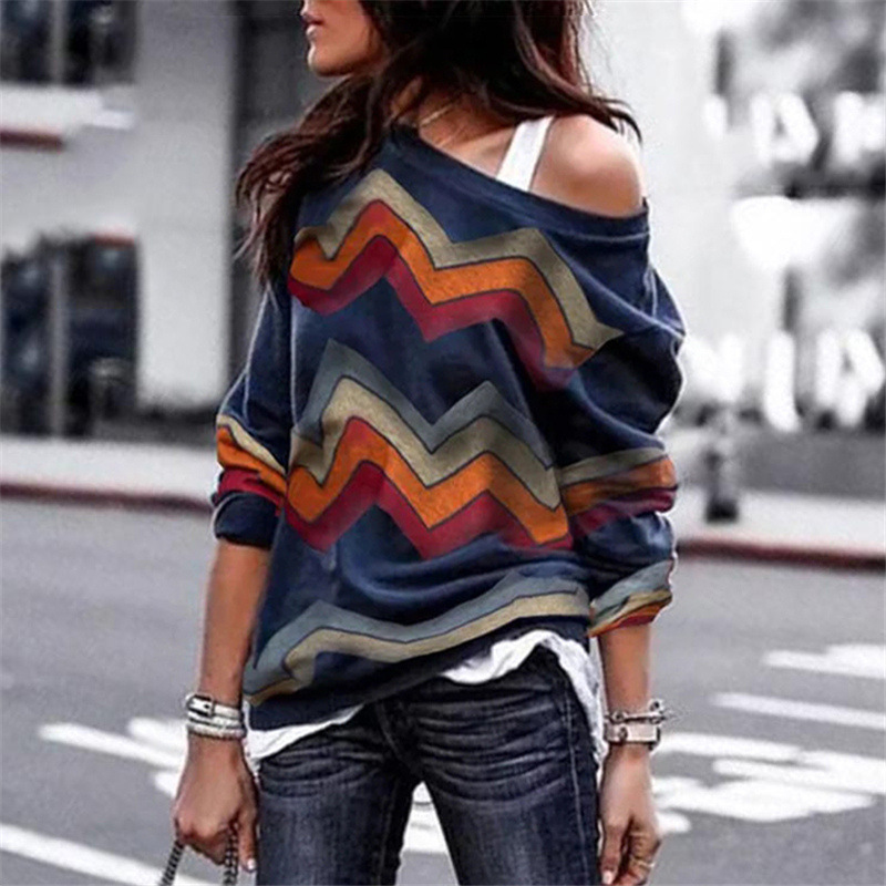Spring Autumn T-Shirts Women Sexy Off Shoulder Striped Tops Leisure Long Sleeve Geometric Printing Lady's T-shirt Plus Size 3XL image