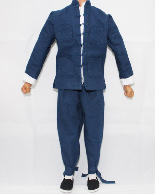 "Blue China Male National Clothing 1/6 Scale Costume Model Toys For 12"" Man Action Figure Body Accessory Gifts   Collections"