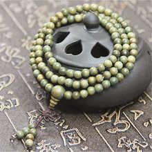 BRO695 натуральное зеленое сандаловое дерево браслеты из бисера 6 мм для девочек буддийские 108 шт для медитации и молитвы мала душистый веравуд